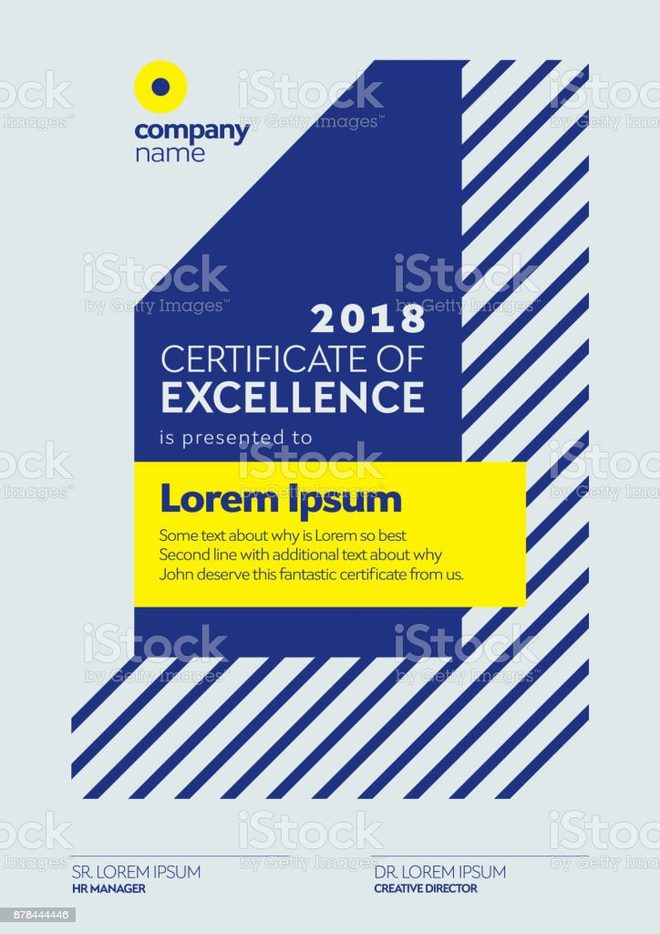 Certificate Template. Certificate of Excellence Design. Diploma Design Vertical Page.