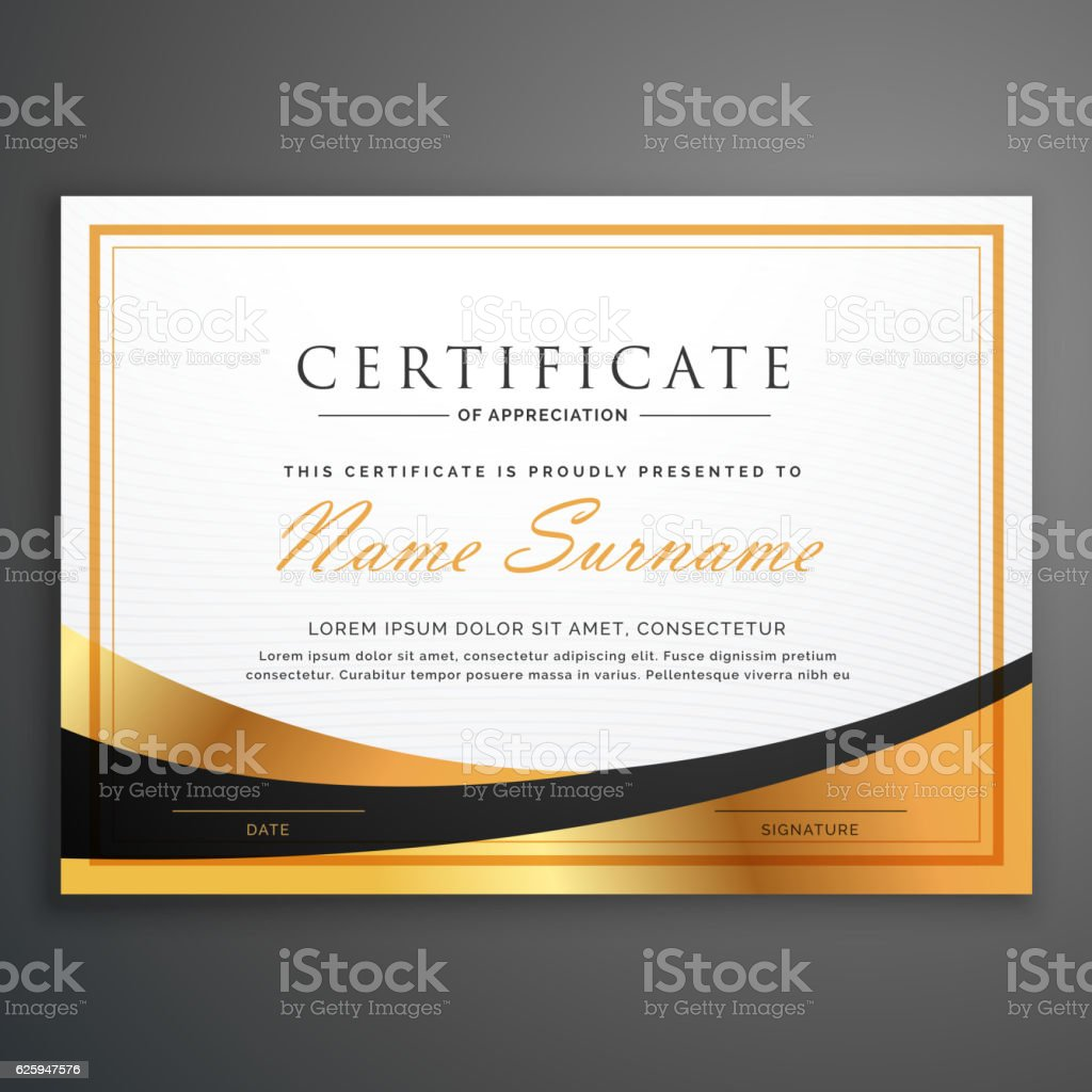 certificate template deisgn with golden wave vector art illustration