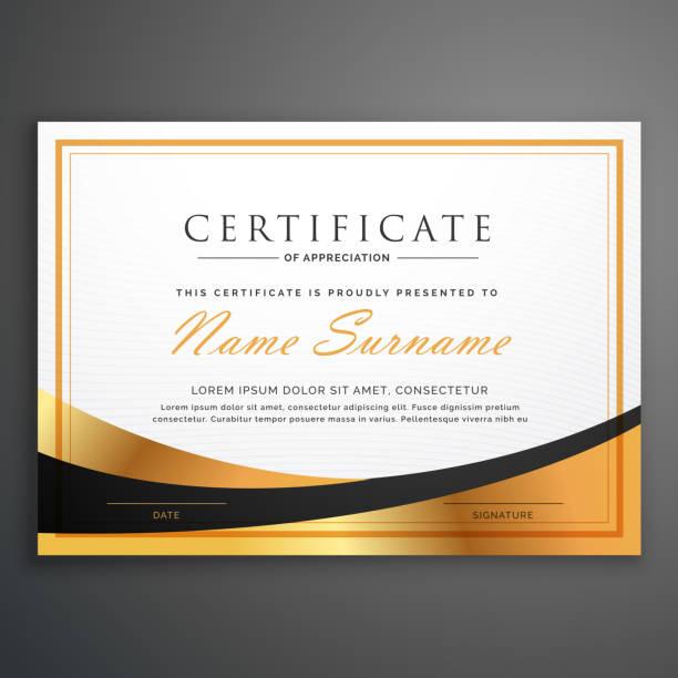 certificate template deisgn with golden wave vector art illustration