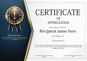 Certificate template design, Modern certificate border with gold badge