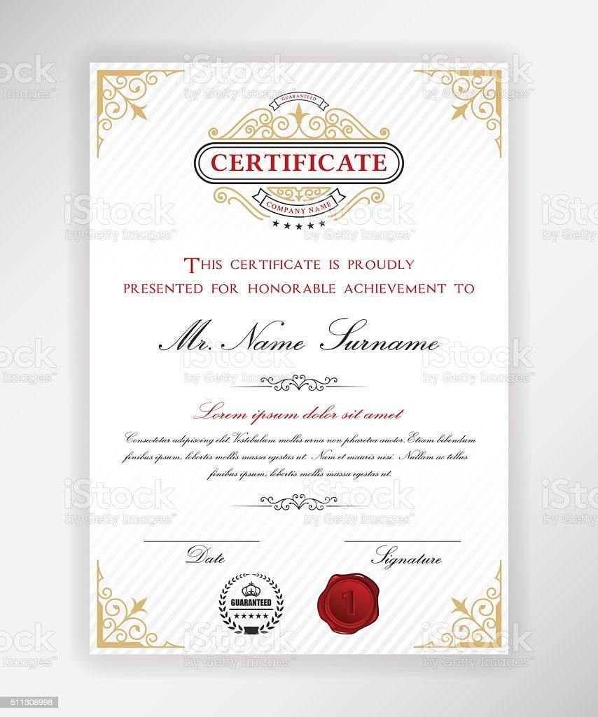 Zertifikat Vorlagedesign Stock Vektor Art und mehr Bilder von ...