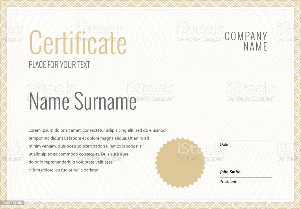 Certificate. Template diploma currency border. векторная иллюстрация