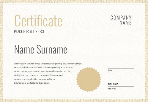 Certificate Template Diploma Currency Border - Immagini vettoriali stock e altre immagini di Affari
