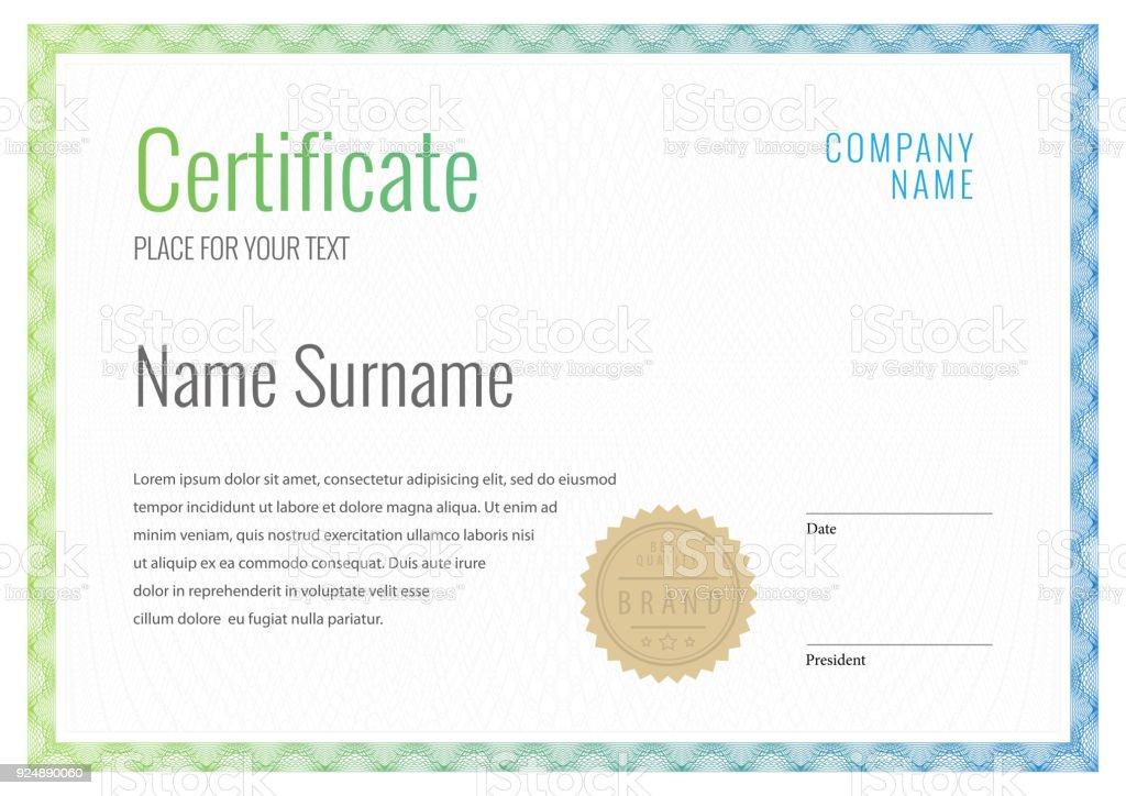 Zertifikat Vorlagediplomwährunggrenze Stock Vektor Art und mehr ...