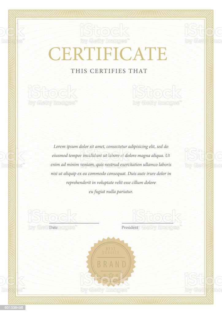 Certificat. Frontière de monnaie modèle diplôme. - Illustration vectorielle