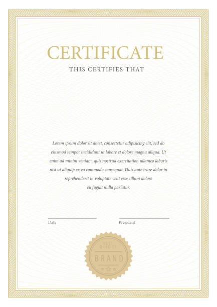 certificate. template diploma currency border. - сертификат stock illustrations