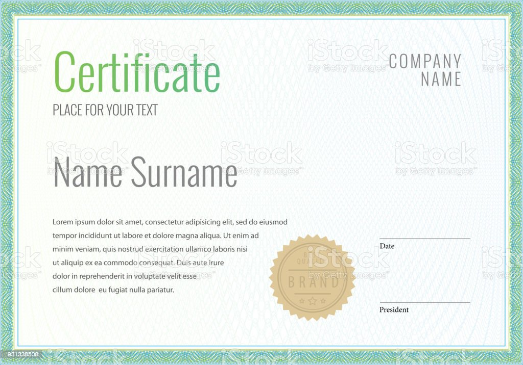 certificate template diploma currency border stock vector art more