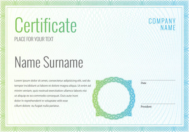 illustrazioni stock, clip art, cartoni animati e icone di tendenza di certificate. template diploma currency border. - attestato