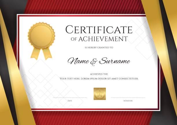 ilustrações, clipart, desenhos animados e ícones de modelo de certificado, projeto do diploma de graduação ou conclusão - molduras de certificados e premiações