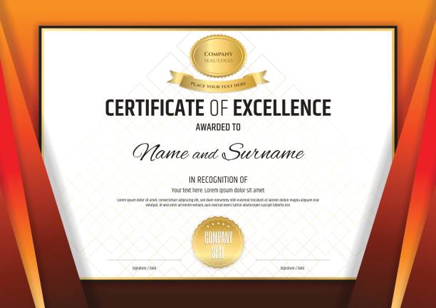 ilustrações, clipart, desenhos animados e ícones de modelo de certificado de design de diploma de graduação ou conclusão - molduras de certificados e premiações