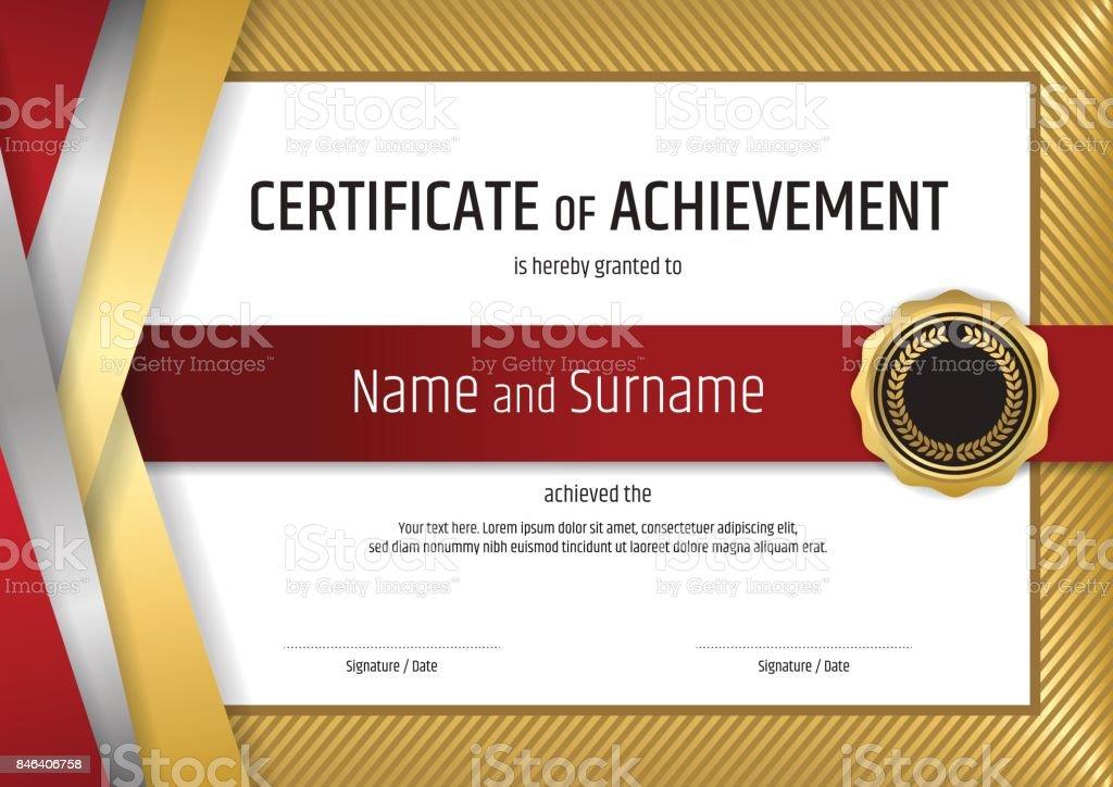 Zertifikatvorlage Diplom Design Mit Eleganten Goldenen Rahmen Stock ...