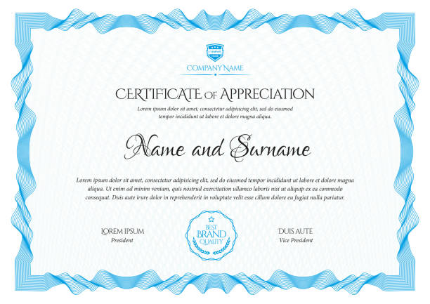 certificate template. diploma of modern design or gift certificate. - сертификат stock illustrations