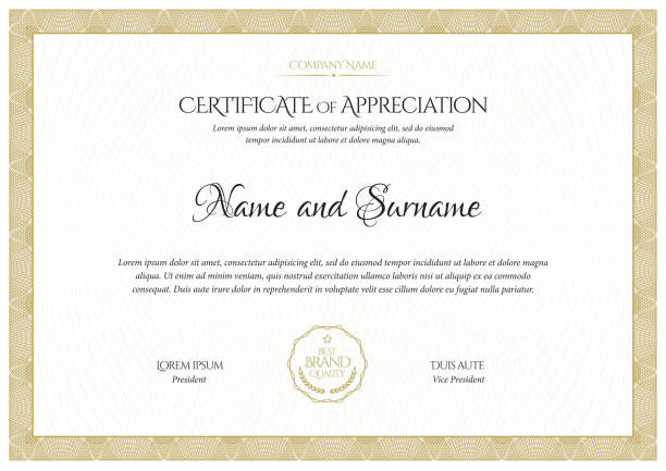 illustrazioni stock, clip art, cartoni animati e icone di tendenza di certificate template. diploma of modern design or gift certificate. - attestato