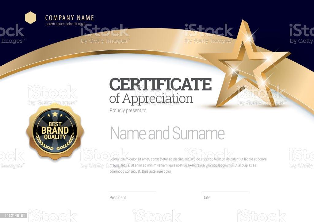 Modelo de certificado. Diploma do projeto moderno ou do certificado de presente. - Vetor de Acabando royalty-free