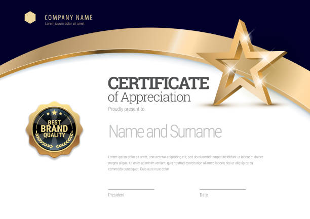 certificate template. diploma of modern design or gift certificate. - invitations templates stock illustrations