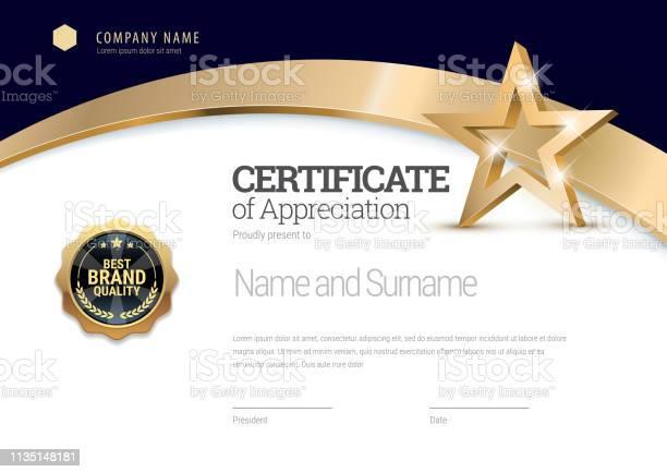 Vetores de Modelo De Certificado Diploma Do Projeto Moderno Ou Do Certificado De Presente e mais imagens de Acabando