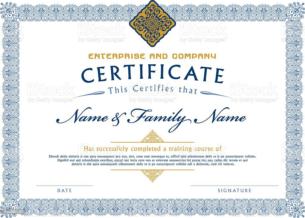 Certificate Template Diploma Stock Vector Art More Images Of