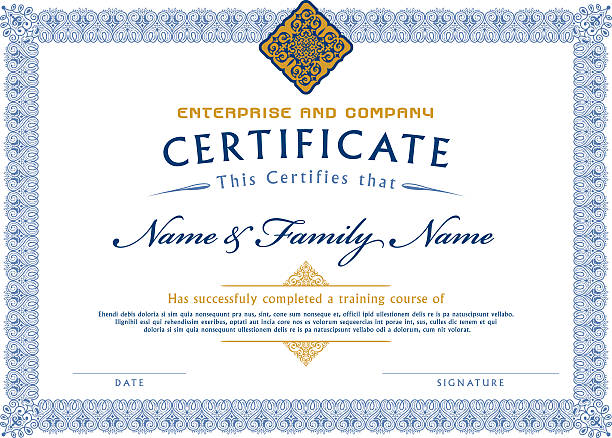 certificate template diploma - certificate and awards frames stock illustrations, clip art, cartoons, & icons