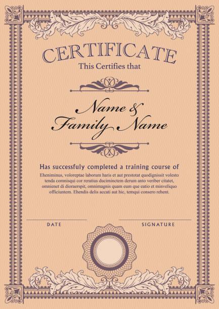 ilustraciones, imágenes clip art, dibujos animados e iconos de stock de certificado plantilla diploma - marcos de certificados y premios
