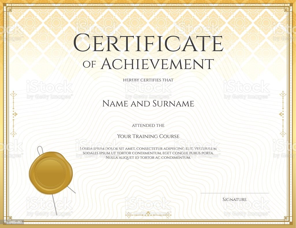 Certificate template for achievement with applied thai art line certificate template for achievement with applied thai art line royalty free stock vector art yadclub Gallery