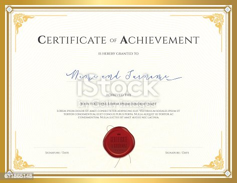 Certificate template for achievement with gold border stock vector certificate template for achievement with gold border stock vector art 611865148 istock yadclub Image collections