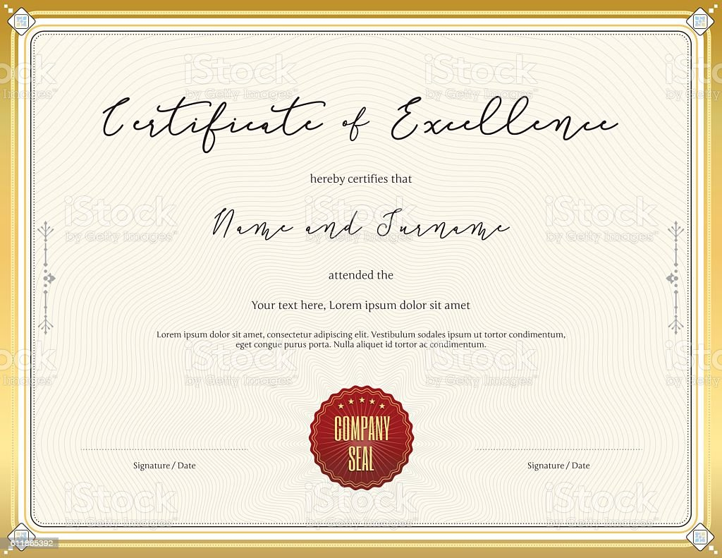 certificate template for achievement with gold border のイラスト素材