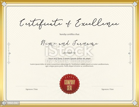 Certificate Template For Achievement With Gold Border Stock Vector
