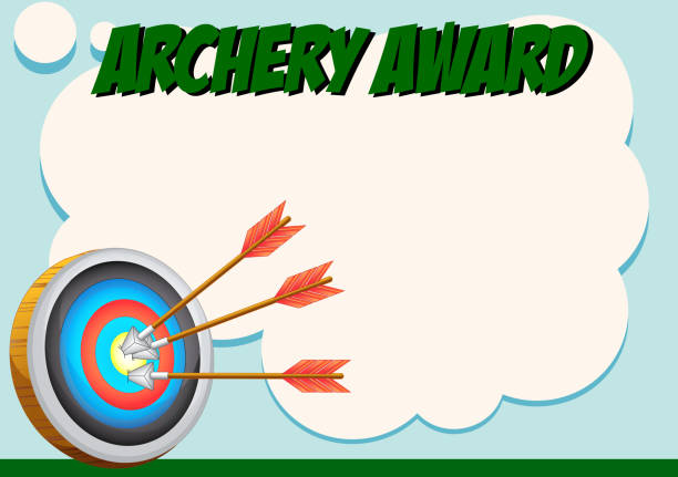 certificate template for archery award - target australia stock illustrations
