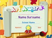 Certificate template for art award with paints and paintbrush in background illustration