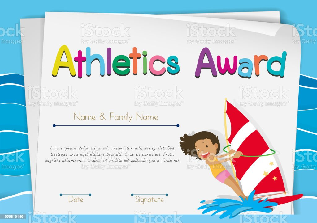certificate template for athletics award stock vector art more