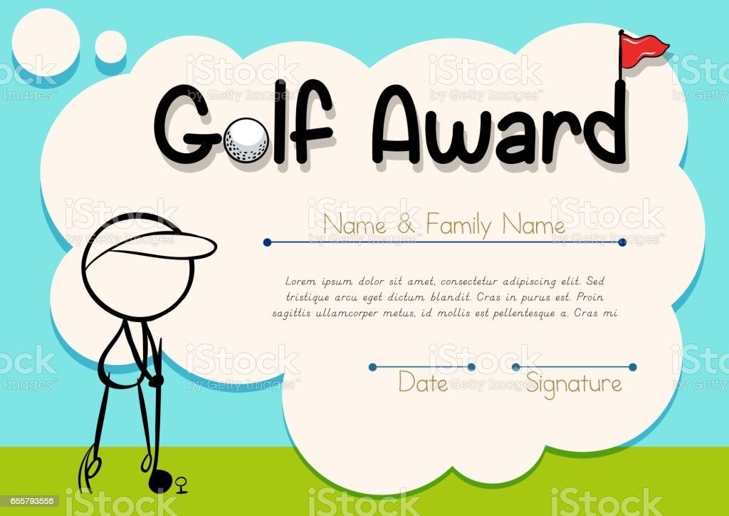 Golf Certificate Template Free Certificate Template For Golf Award Stock Vector Art More Images Of Achievement 655793556 IStock