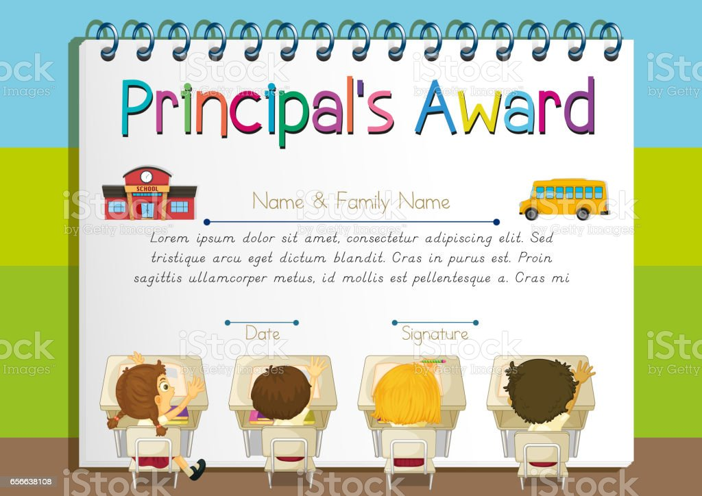 certificate template for principals award royalty free certificate template for principals award stock vector art - Art Award Certificate Template