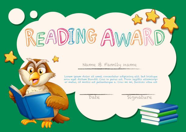 Certificate Template For Reading Award Stock Vector Art 655648792