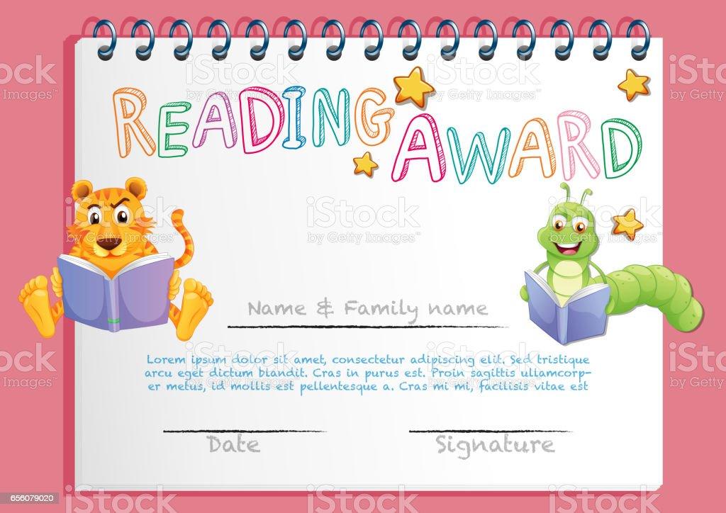 Zertifikatvorlage Für Das Lesen Award Stock Vektor Art und mehr ...