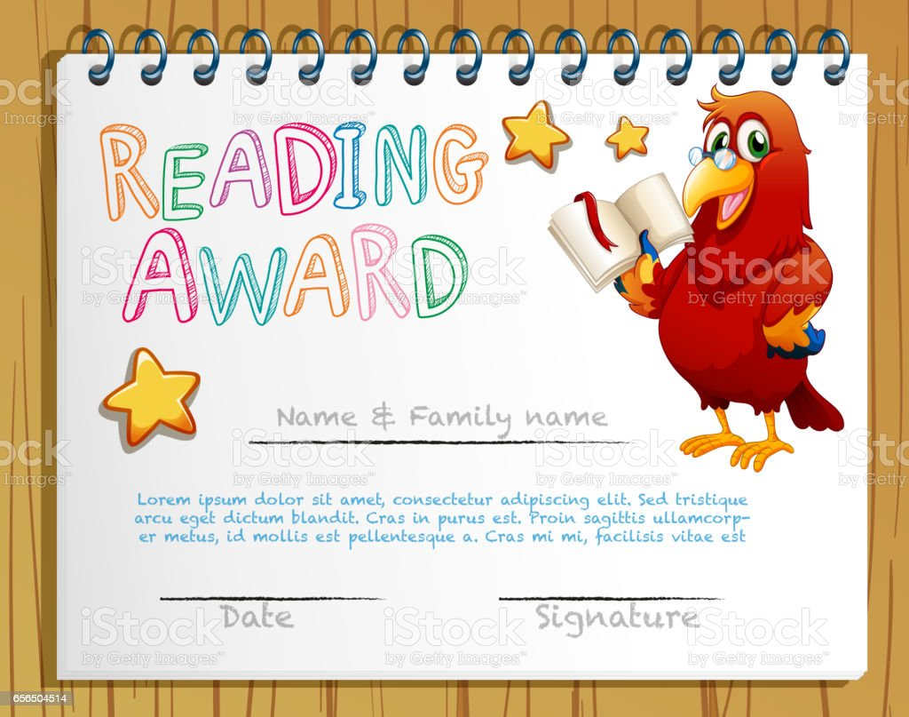 Certificate template for reading award stock vector art 656504514 certificate template for reading award royalty free stock vector art alramifo Images