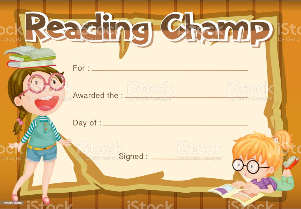 Certificate Template For Reading Champ Stock Vector Art More