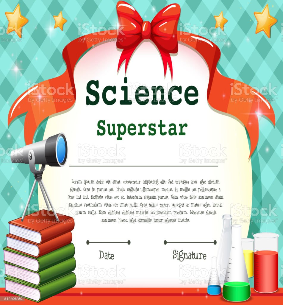 Certificate Template For Science Subject Stock Vector Art More
