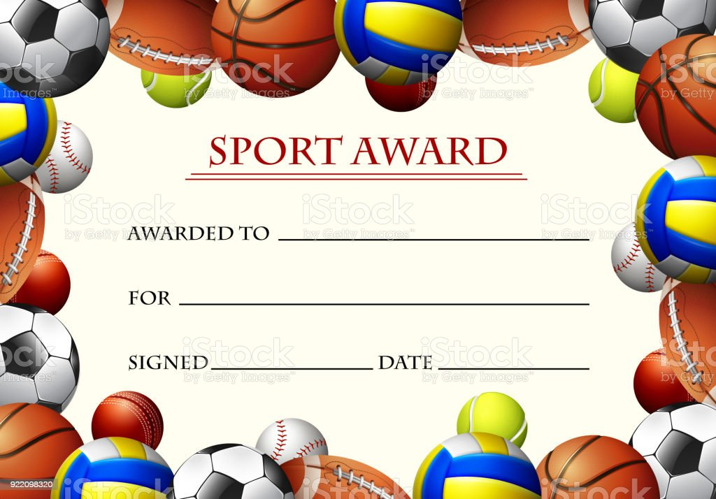 Certificate Template For Sport Award Stock Vector Art More Images