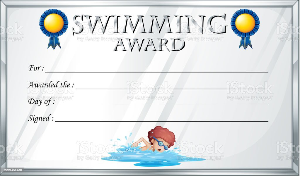 Certificate Template For Swimming Award Stock Vector Art & More ...