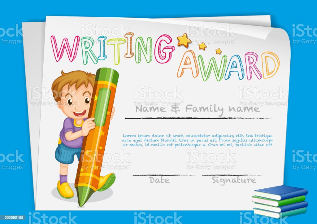 Certificate template for writing award stock vector art 655696188 certificate template for writing award royalty free stock vector art yelopaper Gallery