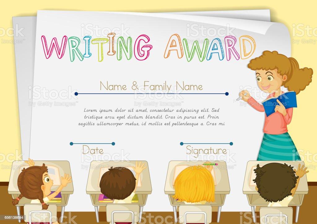 Zertifikatvorlage Für Das Schreiben Von Award Stock Vektor Art und ...