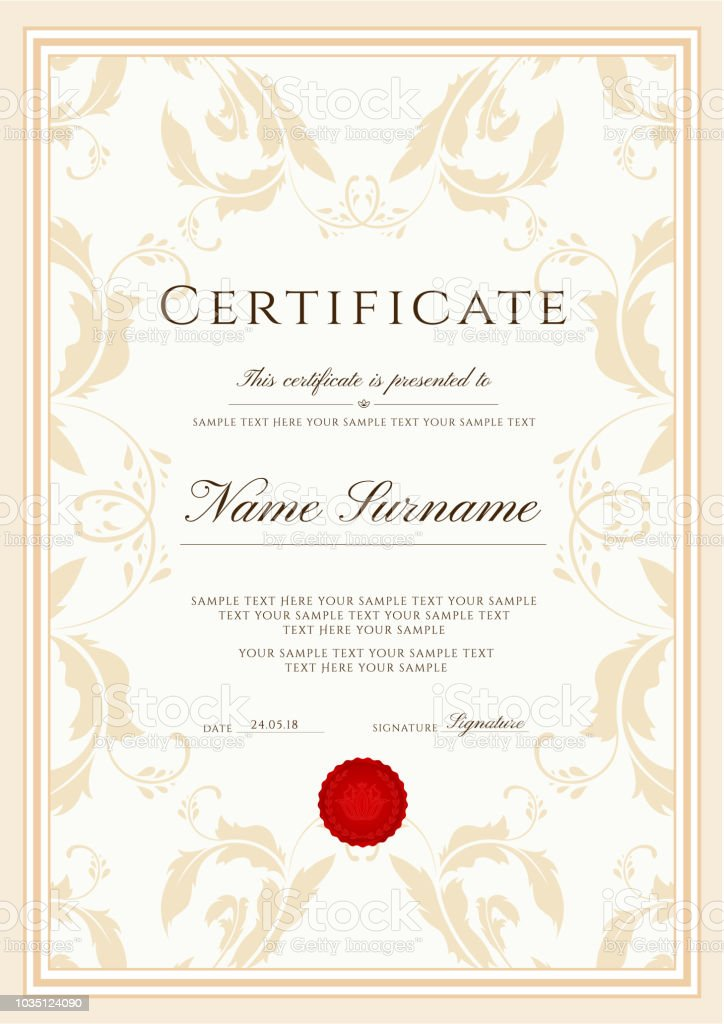 Certificate Template Frame Border Design For Diploma Certificate Of