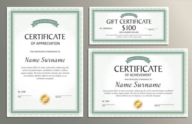 Certificate template, gift voucher for your buziness Certificate template, gift voucher in vintage style for your business banking borders stock illustrations