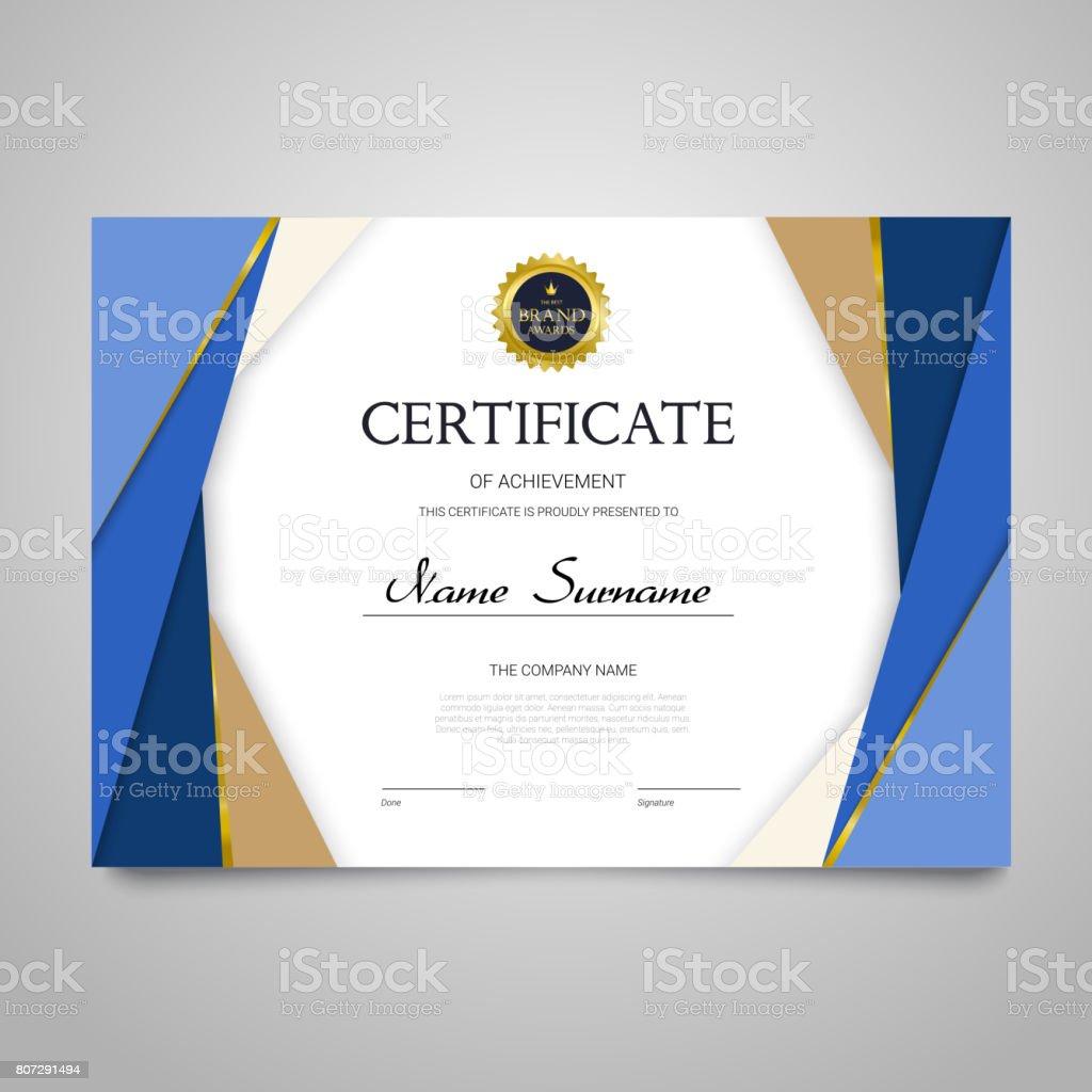 Zertifikatvorlage Horizontale Elegante Vektor Dokument Stock Vektor ...