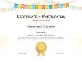 Certificate template in colorful theme with watermark background, Diploma design