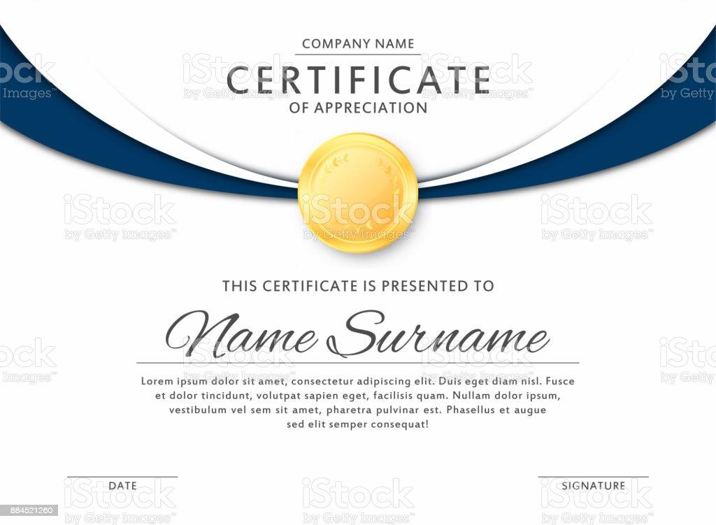Certificate template in elegant black and blue colors. Certificate of appreciation, award diploma design template