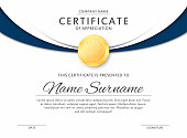 Certificate template in elegant black and blue colors. Certificate of appreciation, award diploma design template