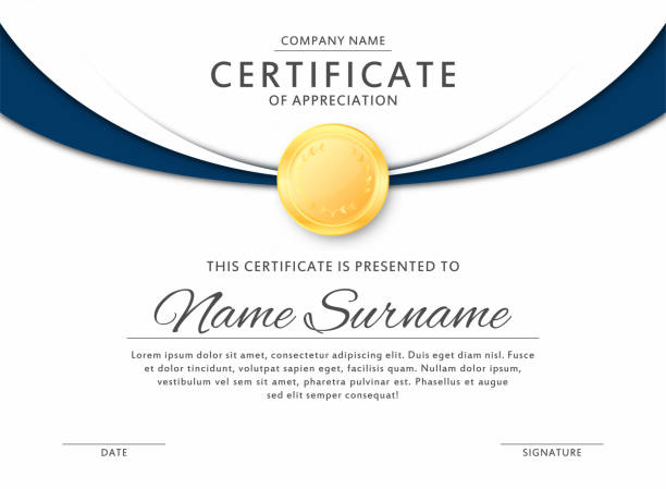illustrazioni stock, clip art, cartoni animati e icone di tendenza di certificate template in elegant black and blue colors. certificate of appreciation, award diploma design template - attestato