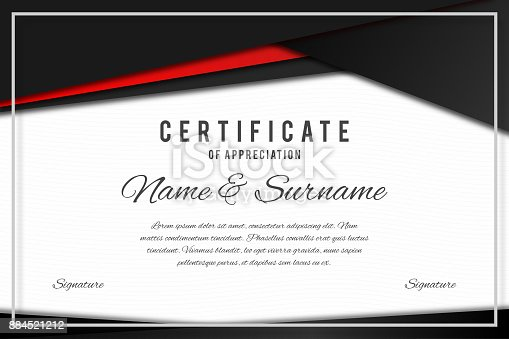 Certificate Template In Elegant Black And Red Colors