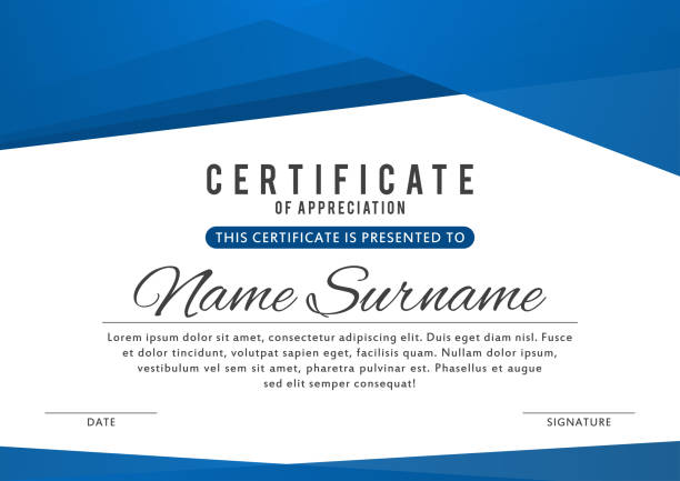 illustrazioni stock, clip art, cartoni animati e icone di tendenza di certificate template in elegant blue color with abstract borders, frames. certificate of appreciation, award diploma design template - attestato